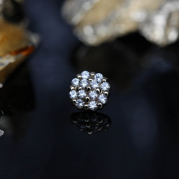 Pave Disk microdermal top with Diamonds